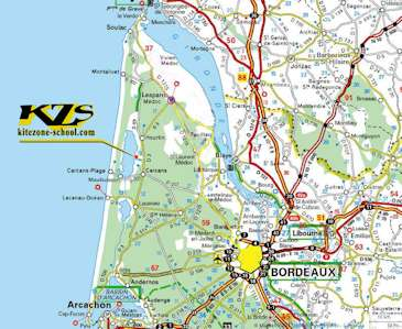 map and itinerary in nouvelle-aquitaine and bordeaux to reach the kzs kitesurf school